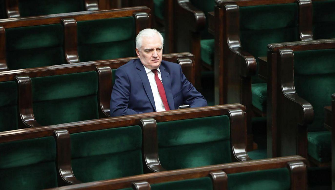 Wicepremier i lider Porozumienia Jarosław Gowin poza rządem Zjednoczonej Prawicy (fot. PAP/Wojciech Olkuśnik)