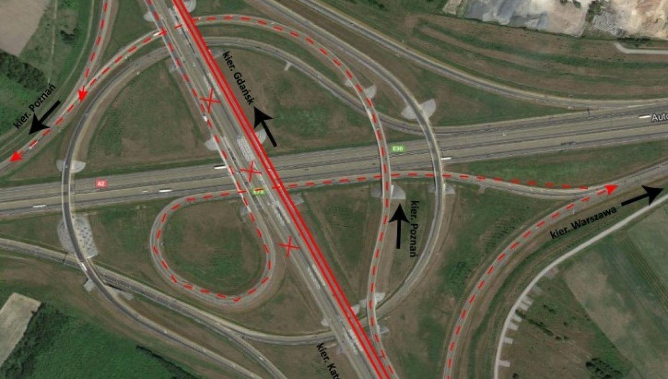 Zmiany w organizacji ruchu będą obowiązywać podróżujących A1 zarówno na północ, jak i południe Polski (fot. GDDKiA)