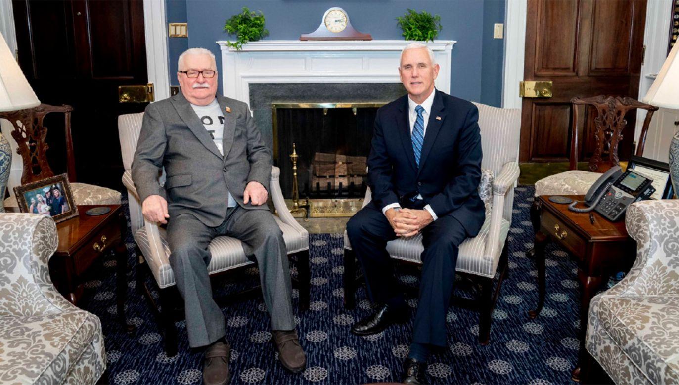 Lech Wałęsa został przyjęty przez Mike'a Pence'a w Białym Domu (fot. TT/VP)