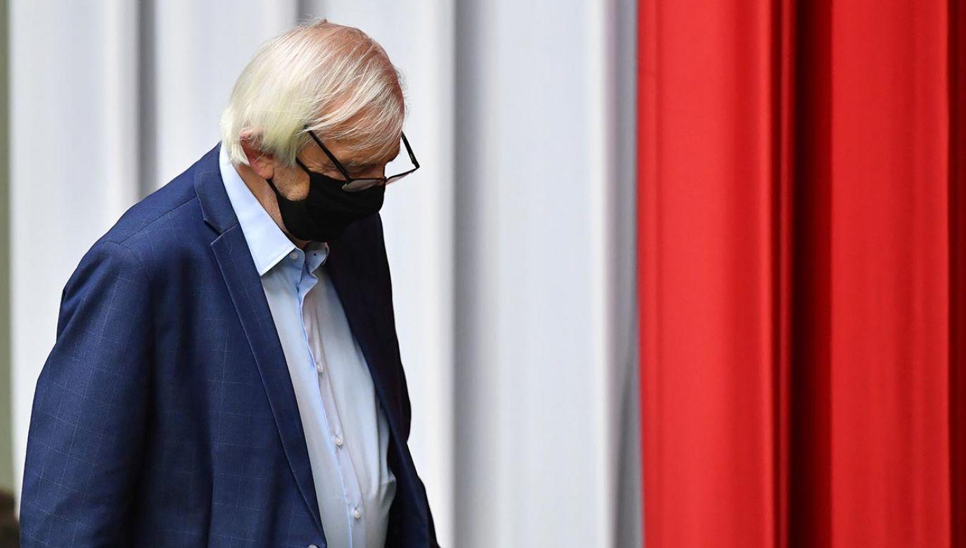 Ryszrad Terlecki poinformował, że obrady zostaną wznowione jutro (fot. PAP/Radek Pietruszka